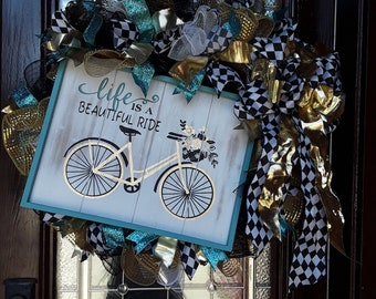Life Is A Beautiful Ride Wreath-Bicycle Wreath-Turquiose Wreath-Black and Gold Wreath-Vintage Wreath-Front Door Wreath-Home Decor
