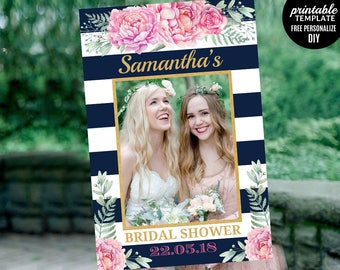 Navy Photo Prop Template. Printable Floral Photo Prop Frame. Watercolor Pink Peony Garden Gold Photo Booth Prop Frame. Blush PDF Download