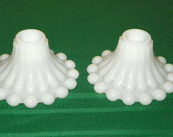 Anchor Hocking Boopie White Milk Glass Candle Stick Holders, Set of 2