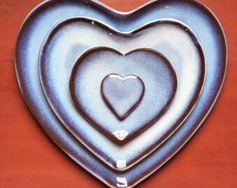 Heart Plate Set - Glacier Glaze on Red Clay Stoneware
