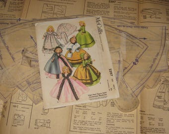 "1960s Doll Clothing PATTERN McCall's 2397 10 1/2"" dolls High Heel Figure Dolls' Centennial Wardrobe for Revlon Cindy Toni Shopisticate Sue"
