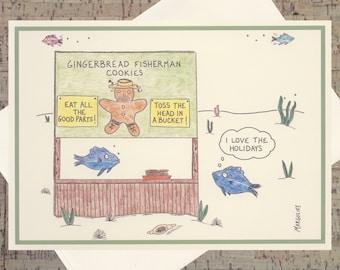 Gingerbread Card, Fish Holiday Card, Funny Holiday Card, Funny Christmas Card, Quirky Holiday Card, Happy Holidays Card, Funny Xmas Card