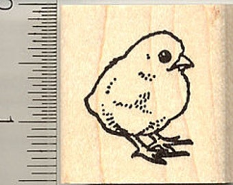 Chick Rubber Stamp, Spring, Easter C9118 Wood Mounted