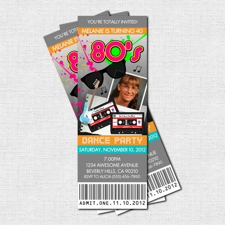 80\'s PARTY TICKET INVITATIONS print your own