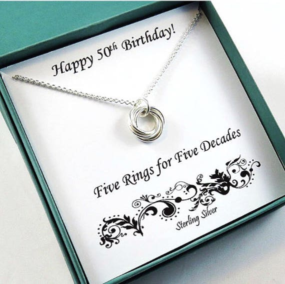 50th Birthday Gift For Women Sterling Silver Necklace 50th