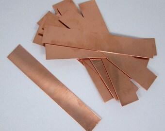 Copper Sheet Bracelet Blanks 24ga 6 in. x 1 in.  Package Of 12
