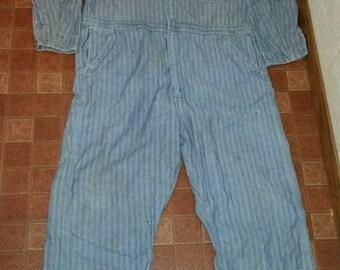 Men's Vintage Blue Herringbone HERCULES Nation-Alls Sears-Roebuck Work-Wear Barn Chores Field Coveralls Sz-46