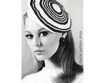 Beret Knitting Pattern Striped Beret Hat Vintage Knit Mod Hat Pattern Womens Instant Download PDF-  K63