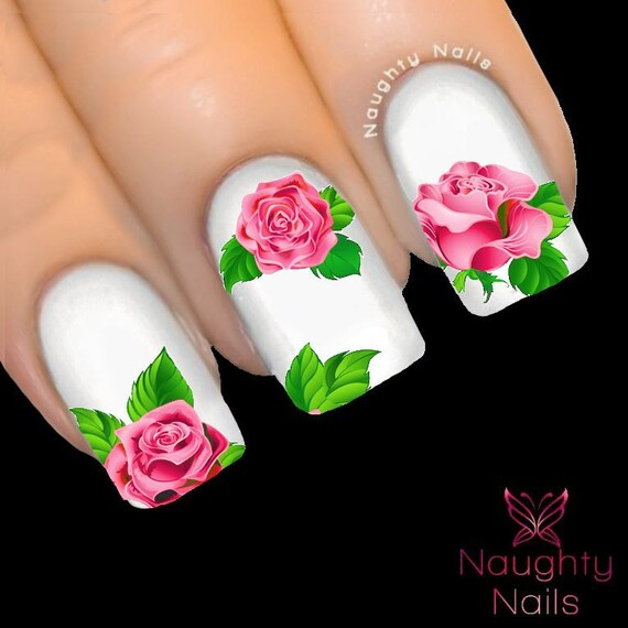 MAJESTIC Light Pink Rose Nail Water Transfer Decal Sticker Art