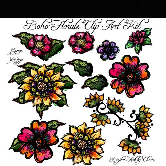 Boho style flower stock vector. Illustration of floral ... |Bohemian Style Flowers