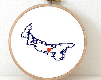 Prince Edward Island Map Cross Stitch Pattern. Prince Edward Island ornament pattern with Charlottetown. Canada wedding gift