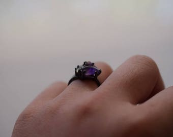 Raw Amethyst Ring Uncut Engagement Ring Sterling Silver Handmade Engagement Avello
