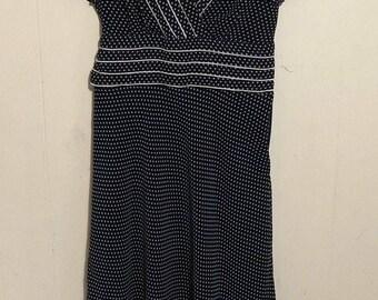 Women's R&K Orginals Vintage Navy Polka Dot Tie Back V-Neck Dress Size 6
