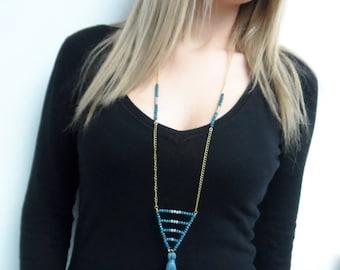 Tassel necklace, geometric necklace, beaded necklace, bohemian necklace, crystal necklace, everyday necklace, boho chic, girlfriend gift