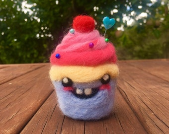 Cupcake Character Needle Felt Pincushion