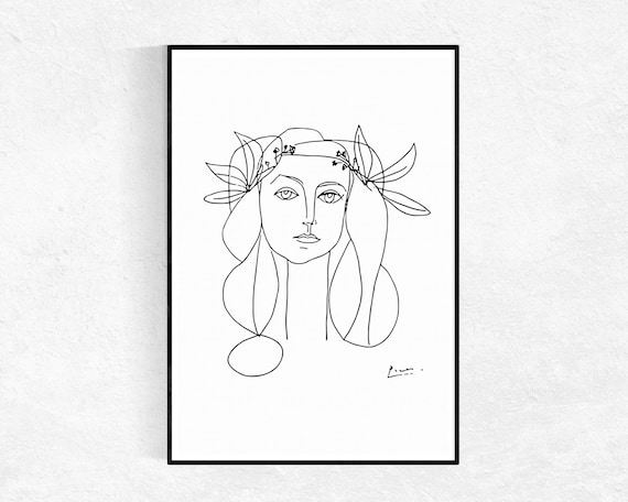 Line Drawing Picasso : Picasso printable art sketch poster head of a