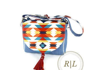 Ready to Ship Southwest Style Saddle Bag with Removable and Adjustable Cross body Strap and Leather Tassel