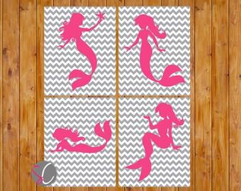 Mermaid Nursery Girls Bedroom Decor Wall Art Hot Pink Grey Chevron Set of 4 8x10 Digital JPG Print Your Own Instant Download (98)