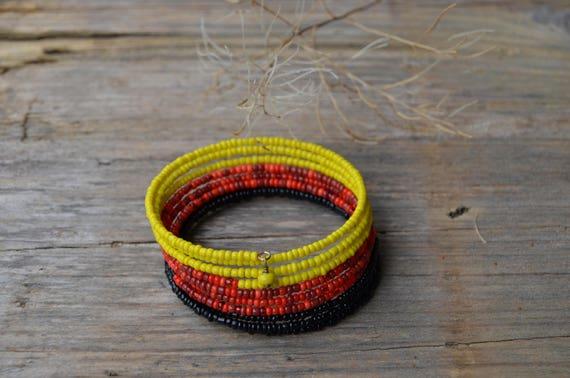 Gelb rot schwarz Speicher Draht Armband deutscher Flagge