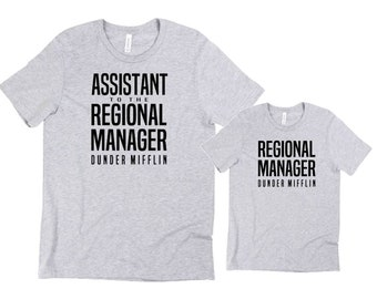 Matching Assistant to the Regional Manager and Regional manager shirts, Father and son shirt, Father and daughter shirt, matching the Office