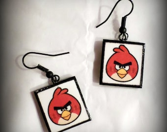 Handmade Angry Birds Polymer Clay Earrings