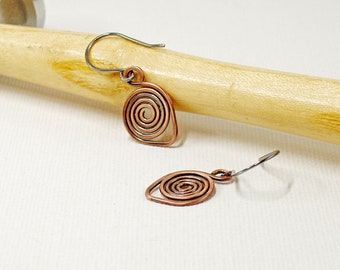 Spiral Earrings in Oxidised Copper with Sterling Silver Ear Wires, Small Drop Earrings for Everyday Wear