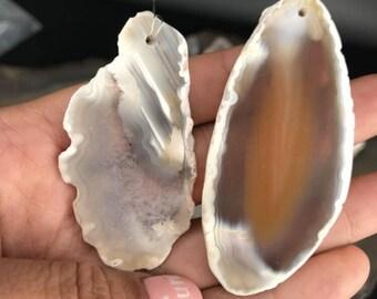 1 Pairs!!Natural White Raw Agate Geode Freeform Flat Slab Pendants,Gemstone Druzy Onyx Slice Nugget Necklace Charms Crafts,ZT-C002-3