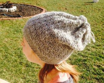 Youth Wool Crochet Slouchy Hat