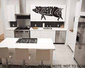Typography Butchers Pig - Wall Decal - Wall art Sticker - ( black outline shown )