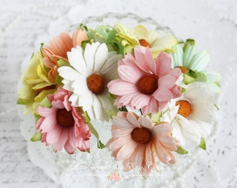 Mix of Pastel Mulberry  Chrysanthemums Set of 10 for Scrapbooking, Cardmaking, Altered Art, Wedding, Mini Album