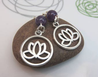Purple amethyst earrings - silver lotus flower earrings - beaded gemstone earrings - new age earrings - lotus charm earrings sterling hooks