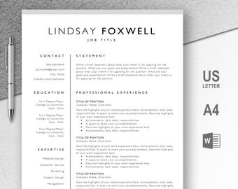Professional Resume Template, CV, Curriculum Vitae, Template Design, Instant Download For Word, Two-Page Resume, Gray, Lindsay