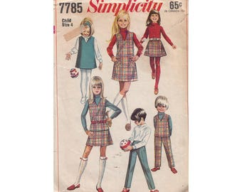 Girls V Neck Mini Jumper or Top with Pants or A Line Skirt Vintage 1960s Sewing Pattern Simplicity 7785 Size 4 Breast 23