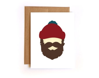 Valentine's Day Lumberjack Card - beard Card - Mustache Card - man Card - Manly Birthday Card - For Him - Hipster card - husband card