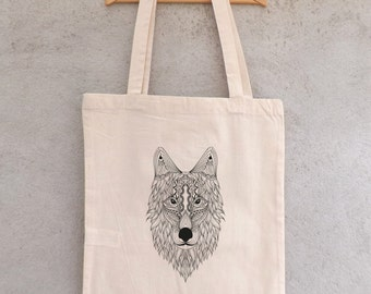 "Tote Bag ""Grand Loup Mandala"" - sac shopping"