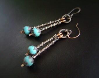 Turquoise Stick Earrings, Wire Wrapped, Copper Earrings, Oxidized Copper, Handmade Jewelry, Artisan, Stick Earring, Chalk Turquoise, 928