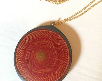 Red and Blue Stained Textured Wood Pendant