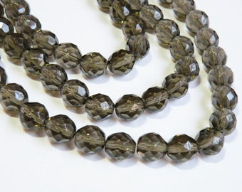 Smoke Crystal Czech fire polished gray grey glass faceted round beads strand 10mm 2513GL