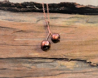 Electroformed Real Berry Copper Necklace L6