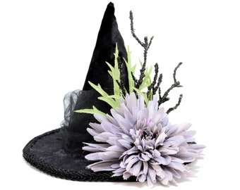 Blessed Be Mini Witch Hat Pagan Wiccan Floral Winter Halloween Lolita Cosplay Black
