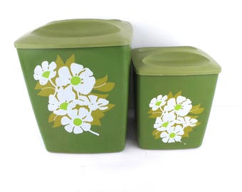 2 Mid Century Avocado Green Canisters Set, Kitchen Housewares Box Container