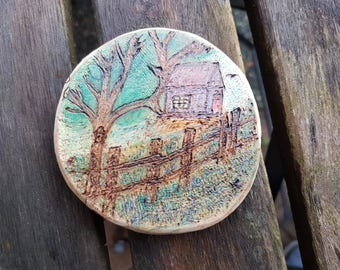 Farm House cottage landscape Mini Pyrography Art Piece, hanger or magnet, small house, large tree, old fence, birch slich,chalk pencil art