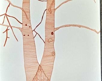 A4 Original Tree Pen Illustration 2018.