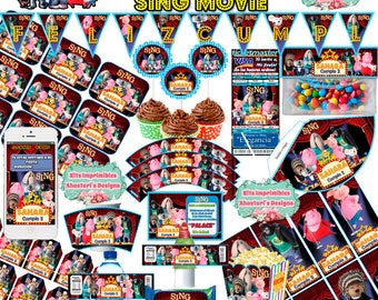 printable Kit sing movie (Sing! the movie) editable + candy bar (candy table) toppers wrappers banner Invitations