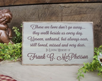 Those We Love Don't Go Away Personalized Memorial Gift for Memorial Services, Wedding Decor, Family Reunions