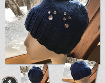 Hand Knit Hand Crafted Bright Blue Sparkle Jewels Ladies Winter Fashion Accessory Hat Warm and Soft