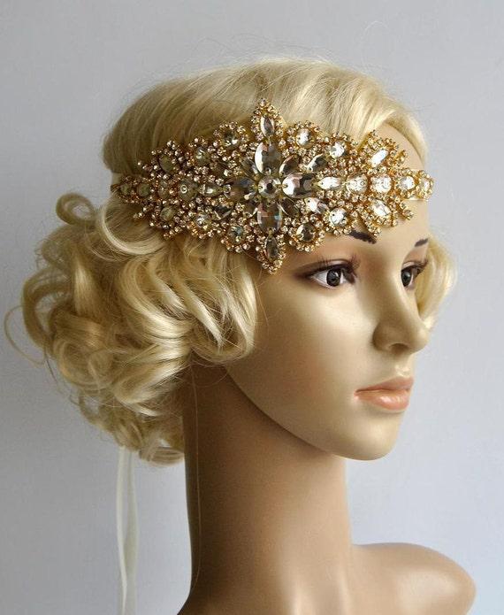 Gold Glamour Rhinestone flapper Gatsby Headband Wedding