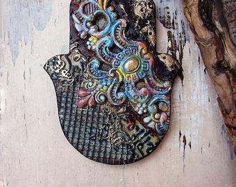 3D Hamsa Wall Hanging, Handmade Pottery Temple Textured Hamsa, Holiday Gift, Good Luck Charm, Ready to Ship.