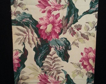 Vtg 1940s floral print linen barkcloth curtain panel fabric size 22.5 by 77in.