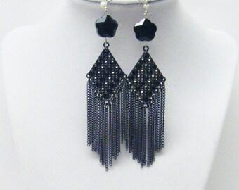 Black Chandelier w/Jet Flower Bead Earrings